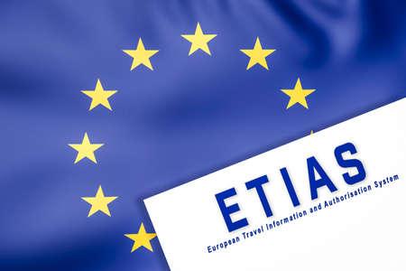 European Union waving flag and ETIAS paper