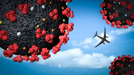 airplane flying between coronavirus. Concept of Bankruptcy and impact of Covid-19 pandemic on airline companies