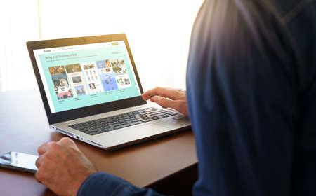 Barcelona, Spain. November 2020: Shopify web page displayed on a modern laptop