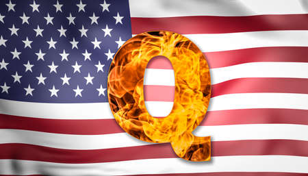 Q Anon deep state conspiracy concept. Q letter on fire with US flag.