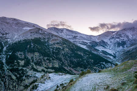 Sunset in winter spanish Pyrenees. Snow on frosty sunset in winter
