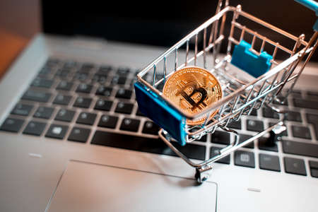 Small shopping cart with a physical Bitcoin on it over a laptop