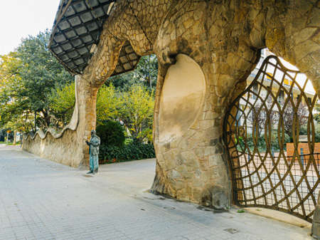Barcelona, Spain - November 2020: Miralles Gate (Finca Miralles) on Passeig Manuel Girona - one of Gaudi architecture in Barcelona, Spain 新聞圖片