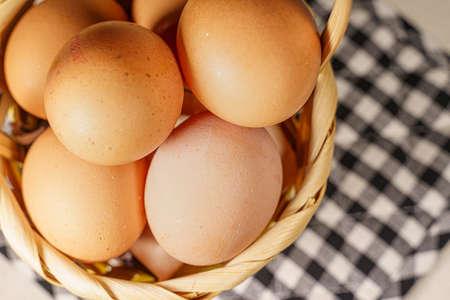 Basket full of eggs, concept of financial risks