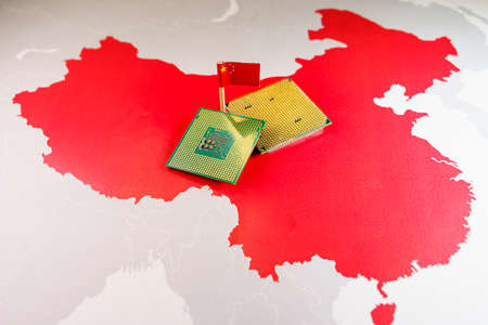 China made CPU chips on a Chinese red map