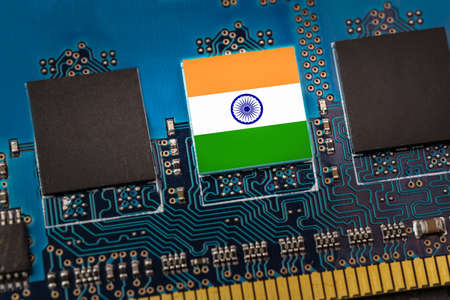 Flag of India in the center of a circuit board