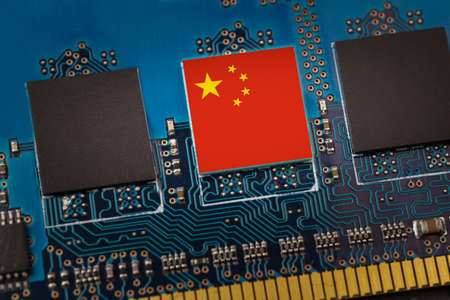 China flag in the center of a circuit board