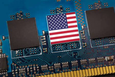 Flag of USA in the center of a circuit board 版權商用圖片