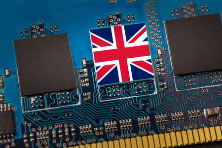 Flag of the UK in the center of a circuit board
