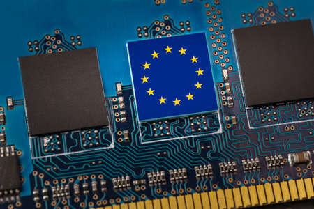 Flag of the EU in the center of a circuit board
