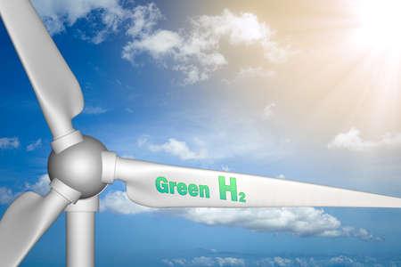 Wind turbine with Green hydrogen words on it