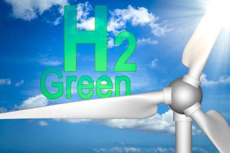 Wind turbine with Green hydrogen words behind