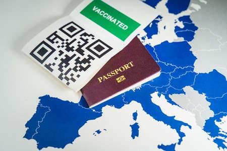 Digital green passport with QR code over an EU map