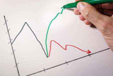 Hand drawing a green arrow on a line chart showing a K-shaped recovery of the pandemic crisis.