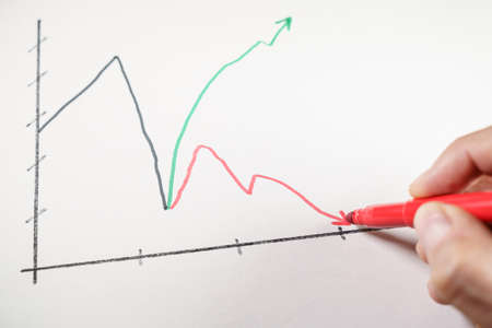 Hand drawing a red arrow on a line chart showing a K-shaped recovery of the pandemic crisis. 版權商用圖片