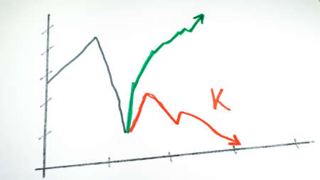 line chart showing a K-shaped recovery of the pandemic crisis. 版權商用圖片