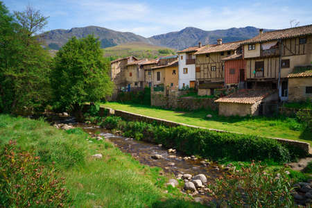 old houses by the river in the small town of hervas, province of extremadura, spain