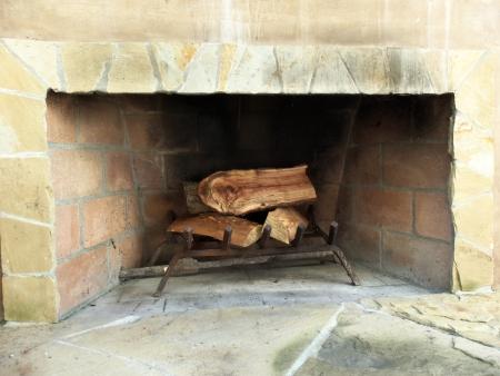 A backyard fireplace