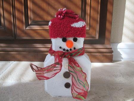 cinder: A painted cinder block snowman