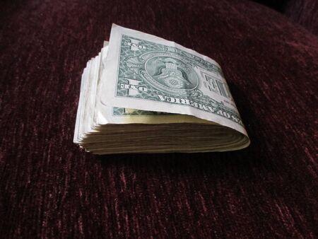 Folded $1 bills Stockfoto
