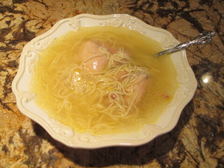 chicken noodle soup: A bowl of homemade chicken  noodle soup