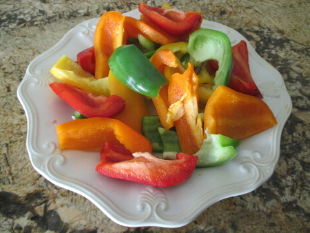 Chopped multicolored peppers