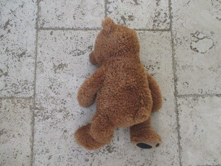 travertine: A brown teddy bear on a travertine floor