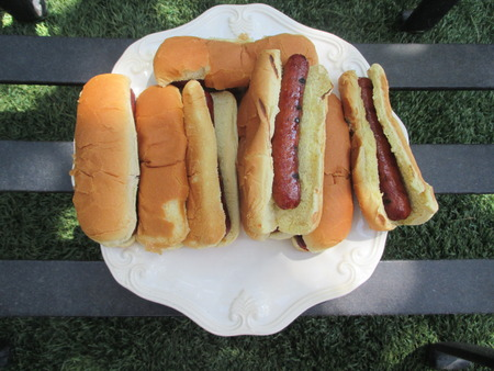 Grilled hot dogs on a white plate