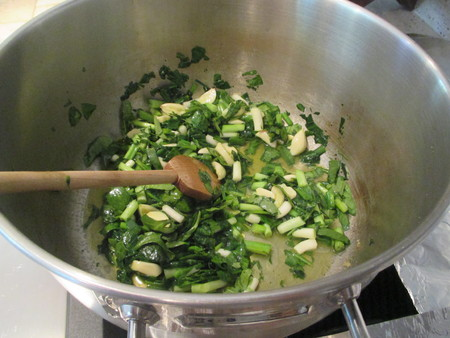 stirred: Stirred spinach and garlic cloves in a large cooking pot