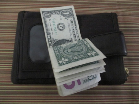 folded five and one dollar bills on a brown womans wallet