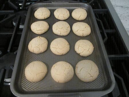 Round cookies on a baking tray