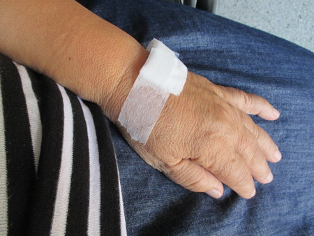 A woman's bandage hand