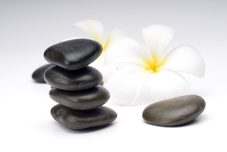 Zen stones on paper with white flower  photo