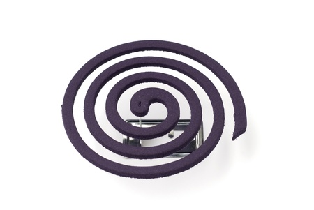 insectiside: Mosquito coil on white background, Text Space, Mosquito repellent.