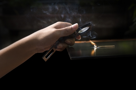 the experimental: Burning match with the light of the sun, Experimental. Stock Photo