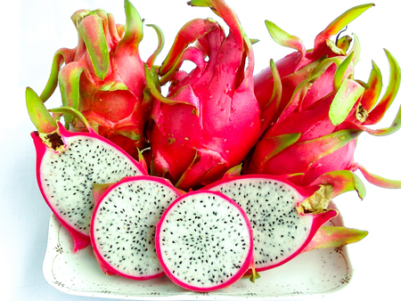 depending: cactaceae or dragon fruit When the shellripe with red meat, white with gray, white or red, depending on the species. Stock Photo