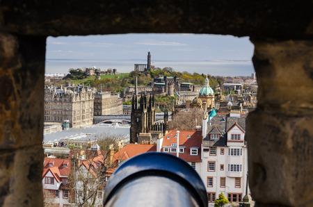 loophole: Edinburgh seen from a cannon loophole in Edinburgh Castle, Scotland