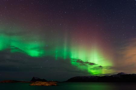 magnetic north: Aurora Borealis, Northern Lights Stock Photo