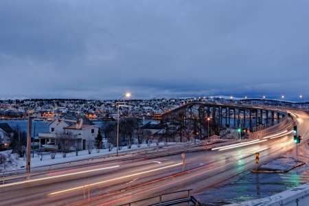 Tromso with the Tromso Bridge during the Polar night photo