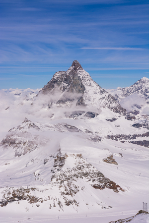 matterhorn: Matterhorn during winter with clouds, Switzerland Stock Photo