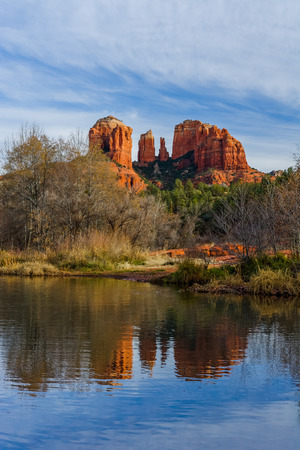 Cathedral Rock with reflection in the water near Sedona, AZ, USA