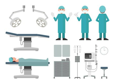 flat vector collection of surgical room items and doctors. 向量圖像