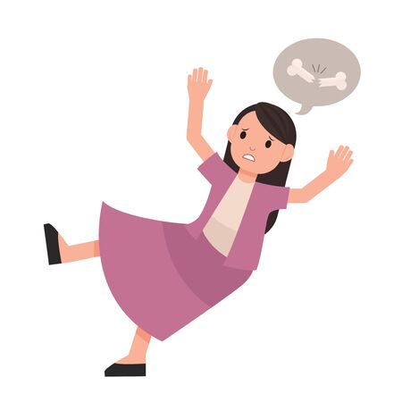 woman falling down. lady slip. isolated vector 일러스트