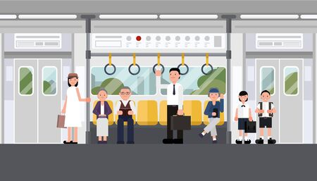 Inside air train with people. railroad car with man and woman. Interior of electric train with city view. concept vector design.
