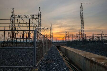 High voltage pole against twilight sky Stok Fotoğraf