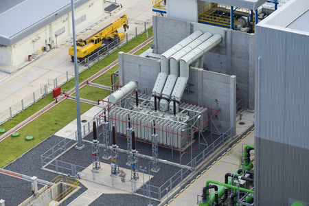 Electrical transformer in combine cycle power plant Stock Photo