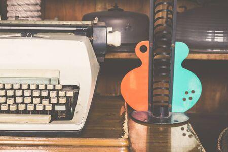 Old Typewriter Machine Closeup Photo with vintage filtered Stok Fotoğraf
