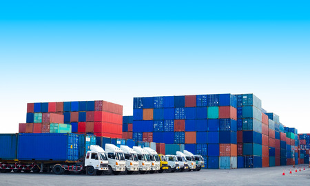 Containers shipping and Trucks for import-export commercial logistic ,shipping business industry Stok Fotoğraf