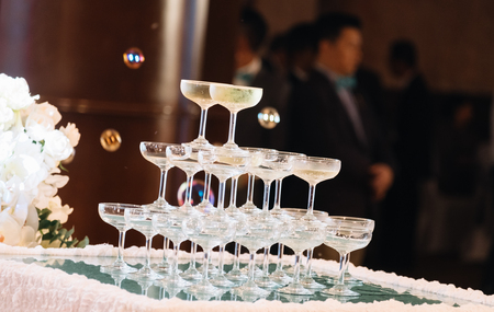 champagne tower in wedding ceremony in vintage tone Stok Fotoğraf