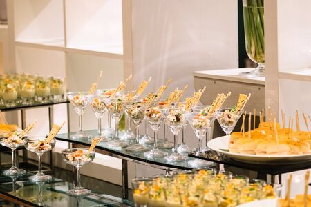 cocktail party decoration with variety of desserts Stok Fotoğraf